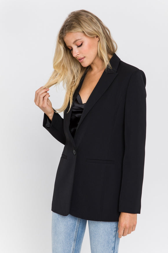 Tailored Single Button Blazer - Black