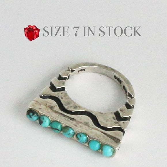 7 Stone Turquoise Stack Ring