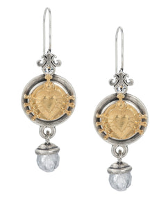 PREFERE EARRINGS WITH IMMACULATE HEART PENDANT AND CLOUDY QUARTZ DANGLE