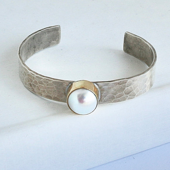 Pearl Cuff with Gold Bezel