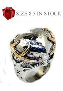 Silver and Gold Large Deer Heart Ring