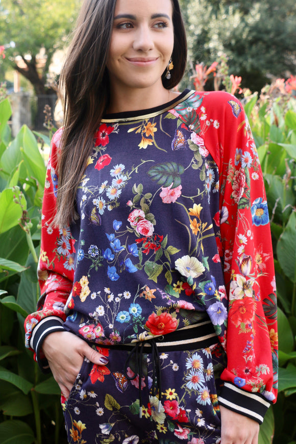 Multi Floral Print Pullover Top