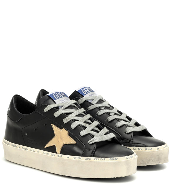 Superstar Leather Shoe - Black with Gold Star
