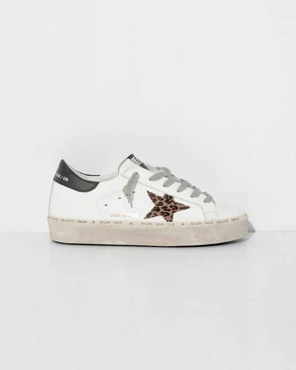 Superstar Leather Shoe - White with Leopard Star