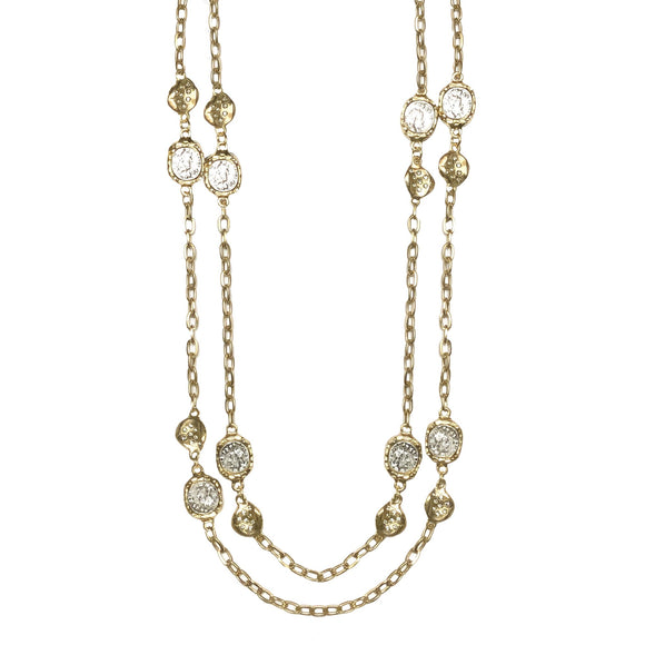 Gold Coin & All Pave Crystal Impression Station Necklace