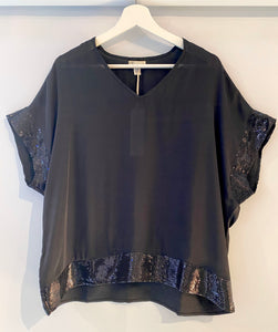 Black Dolman Top with Sequin Border