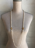 White Pearl Necklace with Silver Wire and Gold Fleur Pendants