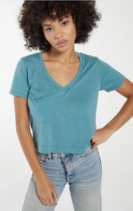 Teal Classic Skimmer Crop Tee