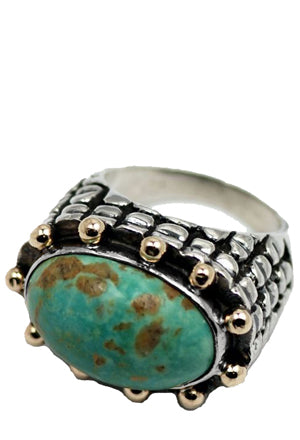 Oval Stone Beaded Top Ring