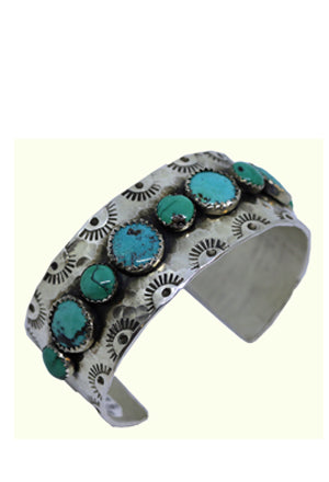 Stamped Cuff with Turq Stones