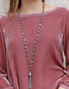 Moonstone Necklace with Chain Tassel