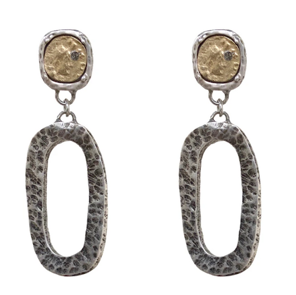 Vintage Silver Hammered Catena Link & Coin Earrings