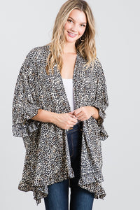 Crepe Ruffle Animal Print Cardigan- Black
