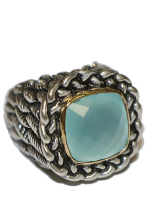 Dian Malouf Sterling & gold with stone ring