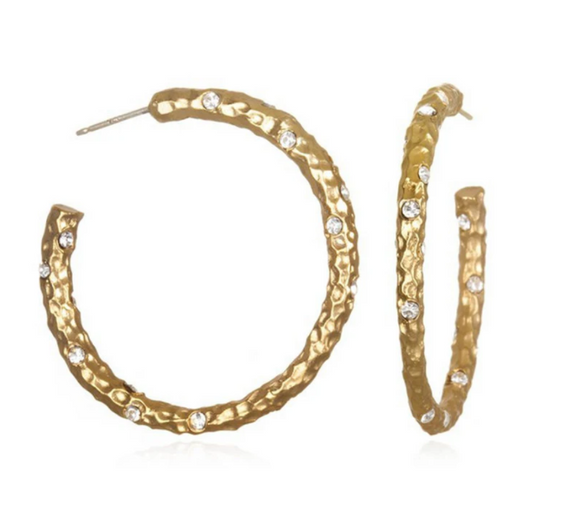 Gold Pavia Hoops with Crystals