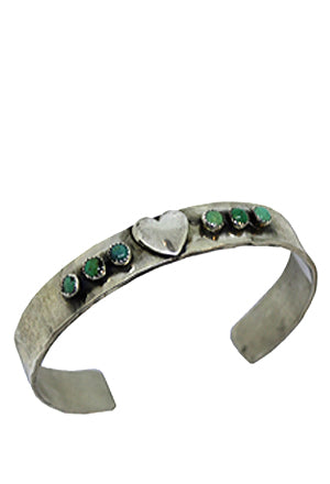 Heart and Turquoise Stones Cuff