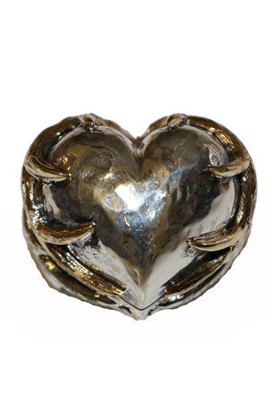 Silver and Gold Deer Heart Ring