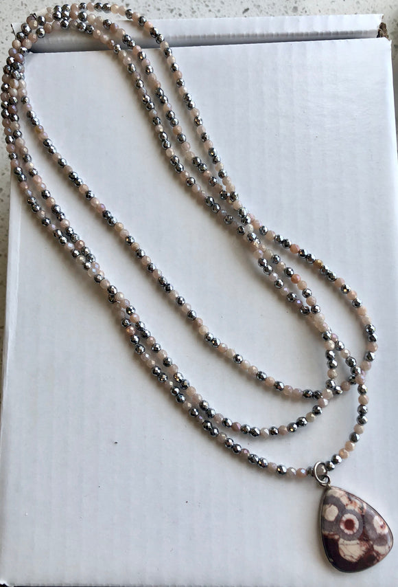 Mystic Peach Moonstone and Hematite Million Dollar Wrap