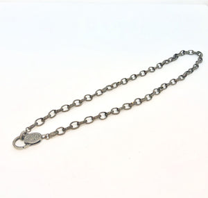 Engraved Gunmetal Chain with Pave Diamonds Clasp