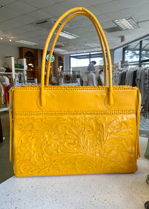 Mustard Augustina Hand-Tooled Leather Purse