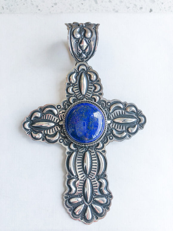 Sterling Cross Pendant with Lapis