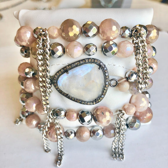 Mystic Peach Moonstone and Hematite Cha Cha Bracelet