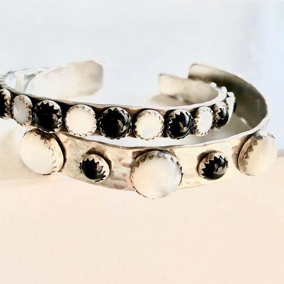 10MM Cuff with Mother of Pearl and Black Onyx