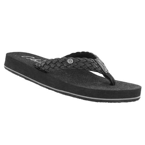 Black Braided Bounce Flip Flops