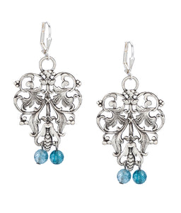 FRENCH FILIGREE EARRINGS WITH DENIM MIX DANGLES