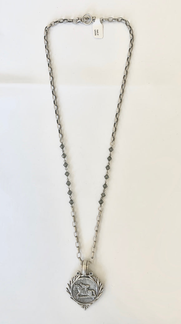"28"" Silver Chain with Black Diamond and Focus Equestrian Medallion"