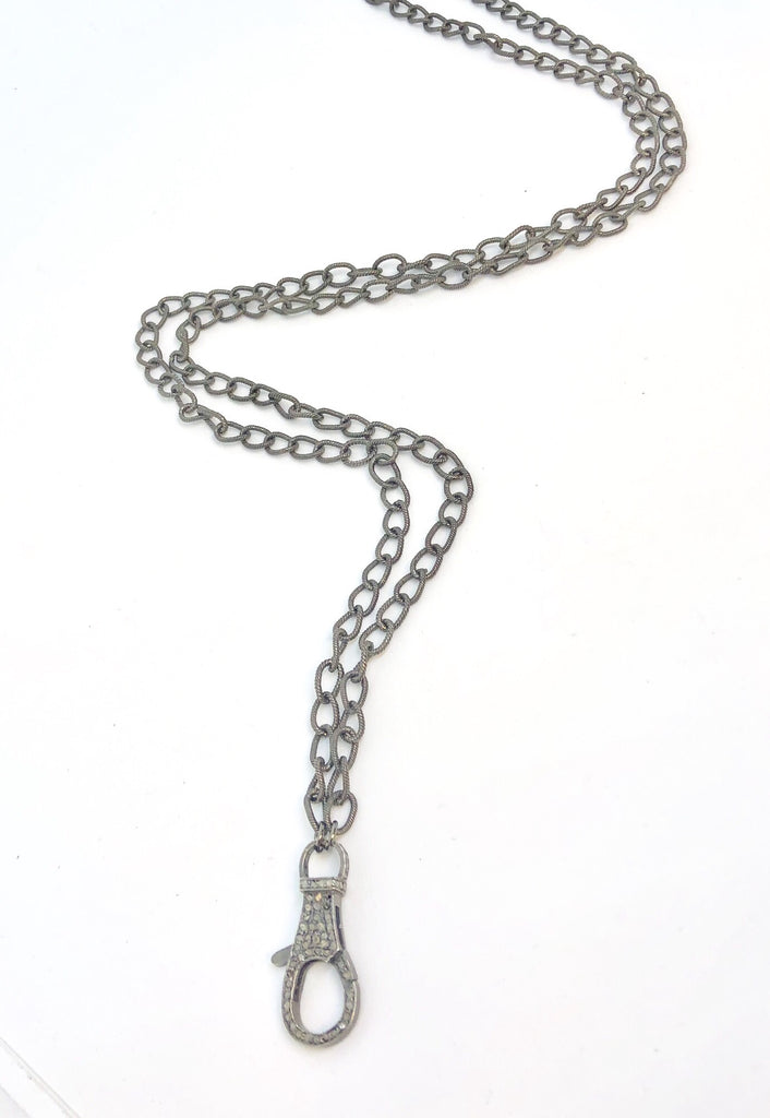 Long Chain with Pave Raw Diamond Clasp
