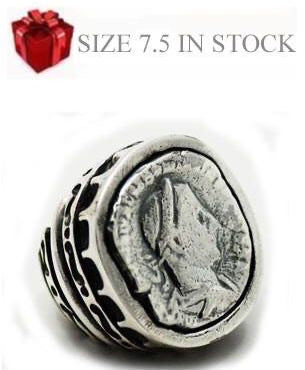 All Silver Roman Coin Ring