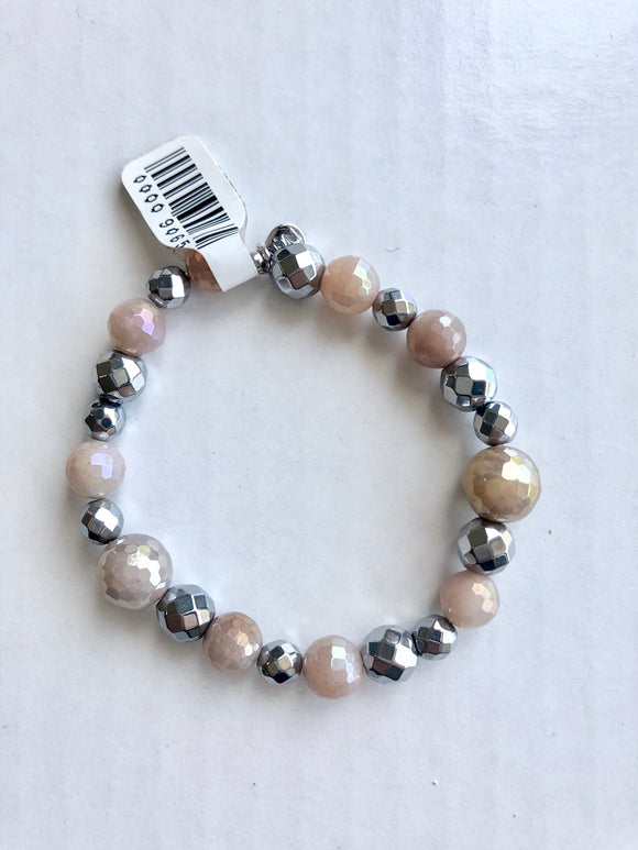 Mystic Peach Moonstone and Hematite Stretchy Bracelet