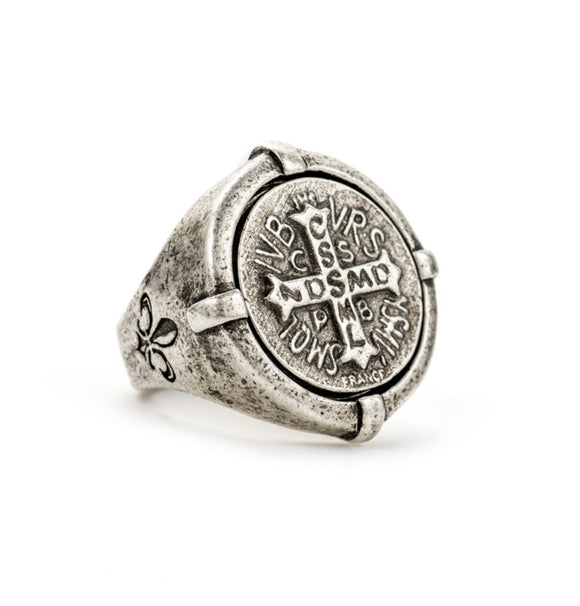SIGNET RING WITH MINI SAINT BENEDICT MEDALLION SIZE 8