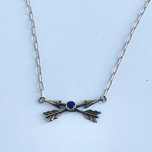 "18"" Crossed Arrows & Lapis Necklace"