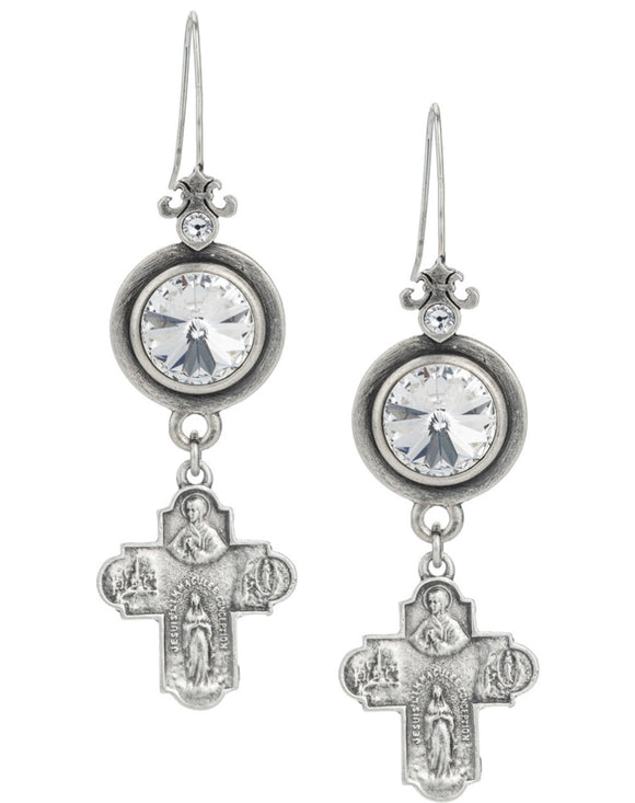 PREFERE EARRINGS WITH SWAROVSKI AND LOURDES CROSS DANGLE