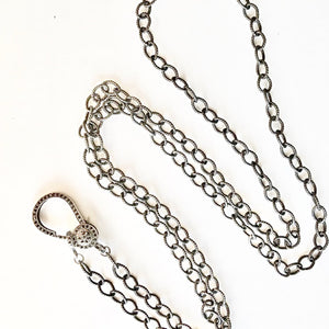 "36"" Oxidized Sterling Chain with Black Spinel Clasp"