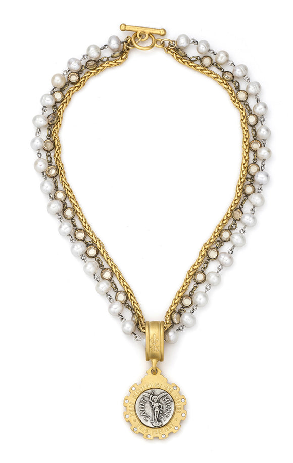 TRIPLE STRAND WHITE PEARLS WITH SILVER WIRE, PETITE CHEVAL CHAIN, GOLDEN SHADOW SWAROVSKI AND MINI SAINT MICHEL MEDALLION