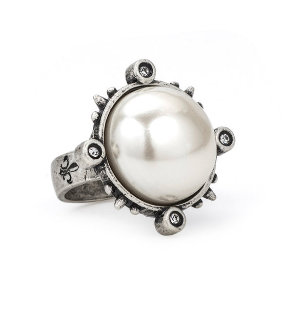 SPIKED RING WITH PEARL CABOCHON SIZE 7