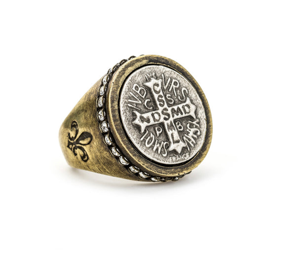 MIXED METAL SWAROVSKI SIGNET RING WITH MINI SAINT BENEDICT MEDALLION SIZE 9