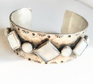 Mother of Pearl Hammered Cuff