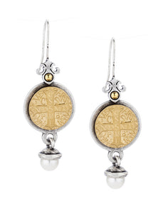 PREFERE EARRINGS WITH 14K GOLD MINI SAINT BENEDICT MEDALLION AND PEARL DANGLE