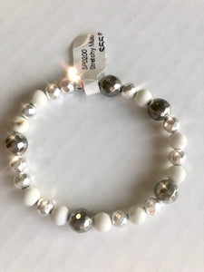 White Turq and Hematite Stretchy Bracelet