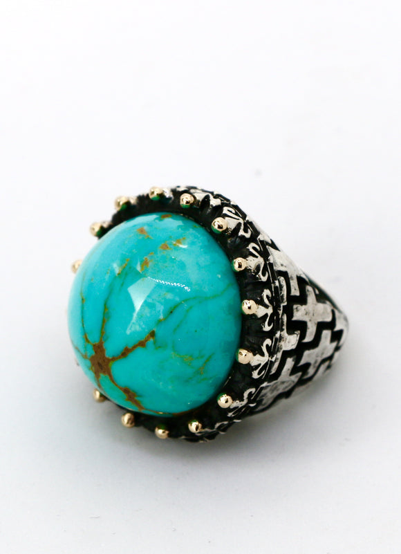 Dome Turquoise with Gold accent