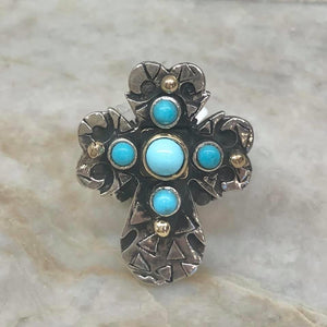 Cross Ring with Turquoise Stones Gold Bezel and Dots