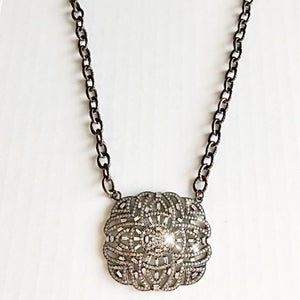 Sterling Chain Necklace with Diamond Detailed Pendant