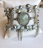 Aquamarine and Hematite Stretchy Bracelet