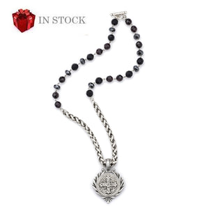 Night Tide Mix Silver Cheval Chain with St. Benedict Medallion