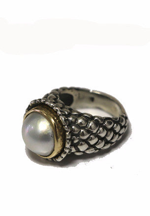 Pearl Silver & Gold Ring