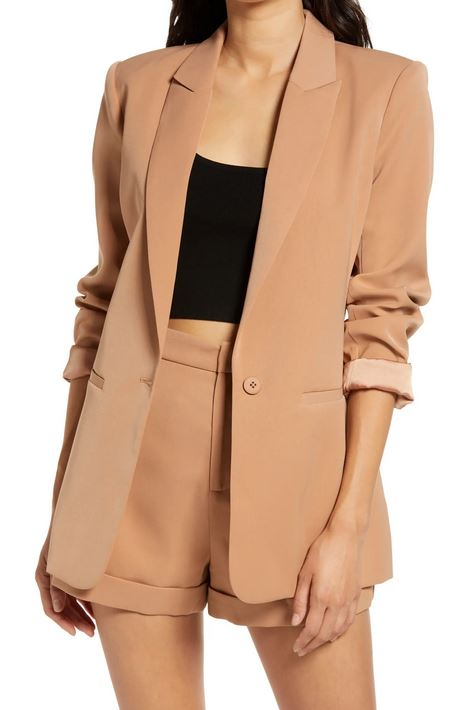 Tailored Single Button Blazer - Tan